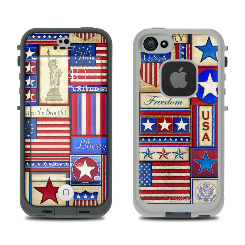 Skin Kit for LifeProof FRE iPhone 5S - Flag Patchwork - Sticker Decal