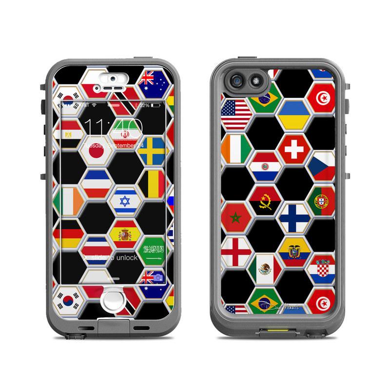LifeProof Nuud iPhone 5S - Soccer Flags by Dan Morris - Sticker Decal