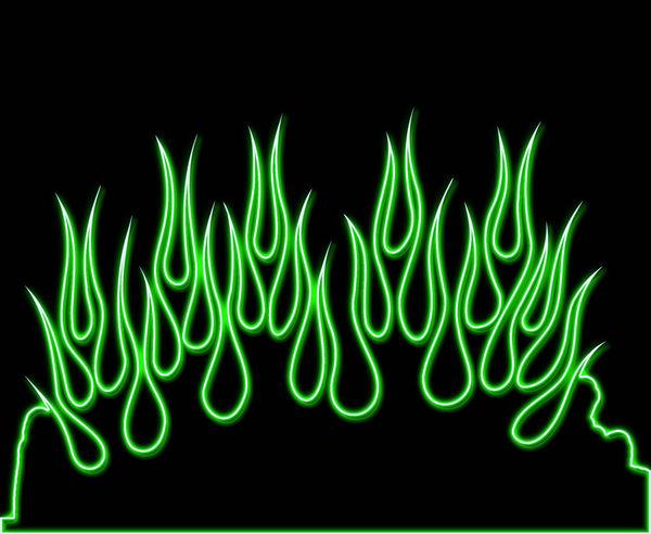 green neon flames