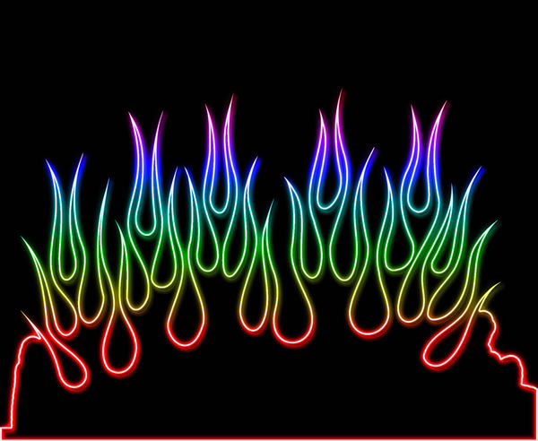Rainbow Neon Flames Decalgirl