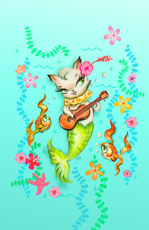 Merkitten with Ukelele