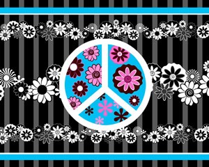 Peace Flowers Black