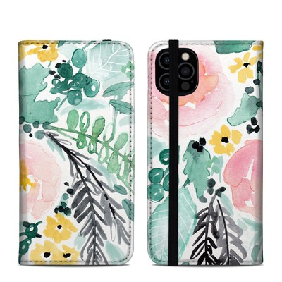 Apple iPhone 12 Pro Folio Case - Blushed Flowers