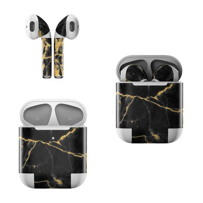 Apple AirPods Skin - Black Gold Marble