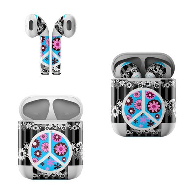 Apple AirPods Skin - Peace Flowers Black