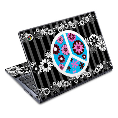 Acer Chromebook C720 Skin - Peace Flowers Black