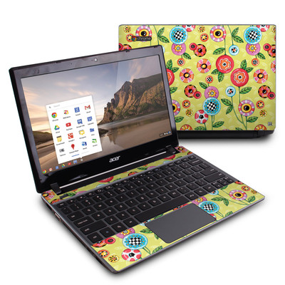 Acer Chromebook C7 Skin - Button Flowers