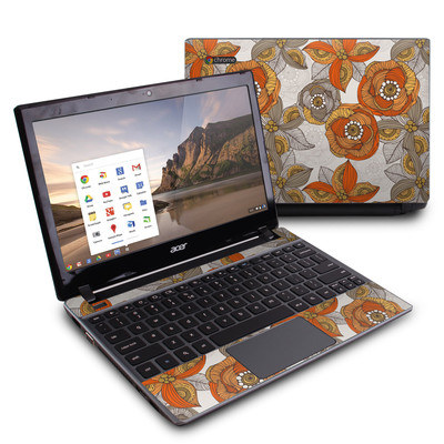 Acer Chromebook C7 Skin - Orange and Grey Flowers