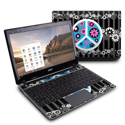 Acer Chromebook C7 Skin - Peace Flowers Black