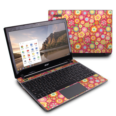 Acer Chromebook C7 Skin - Flowers Squished