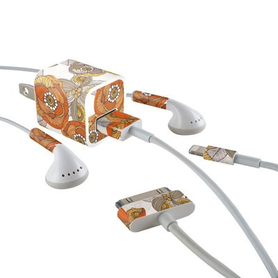 Apple iPhone Charge Kit Skin - Orange and Grey Flowers