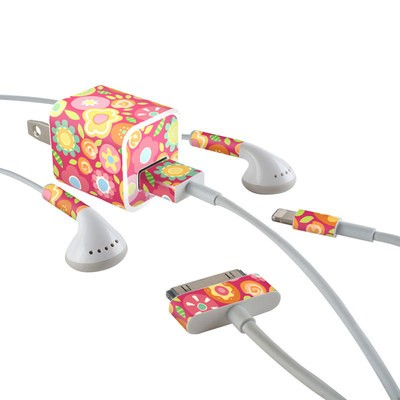 Apple iPhone Charge Kit Skin - Flowers Squished