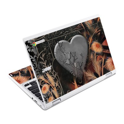 Acer Chromebook R11 Skin - Black Lace Flower
