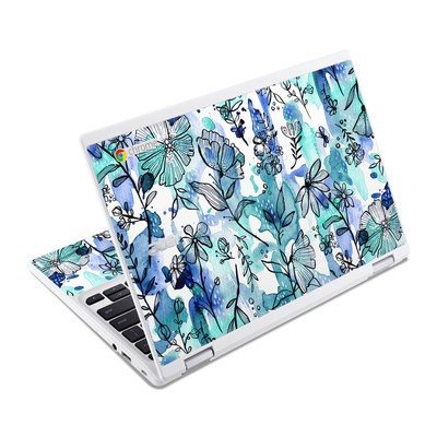 Acer Chromebook R11 Skin - Blue Ink Floral
