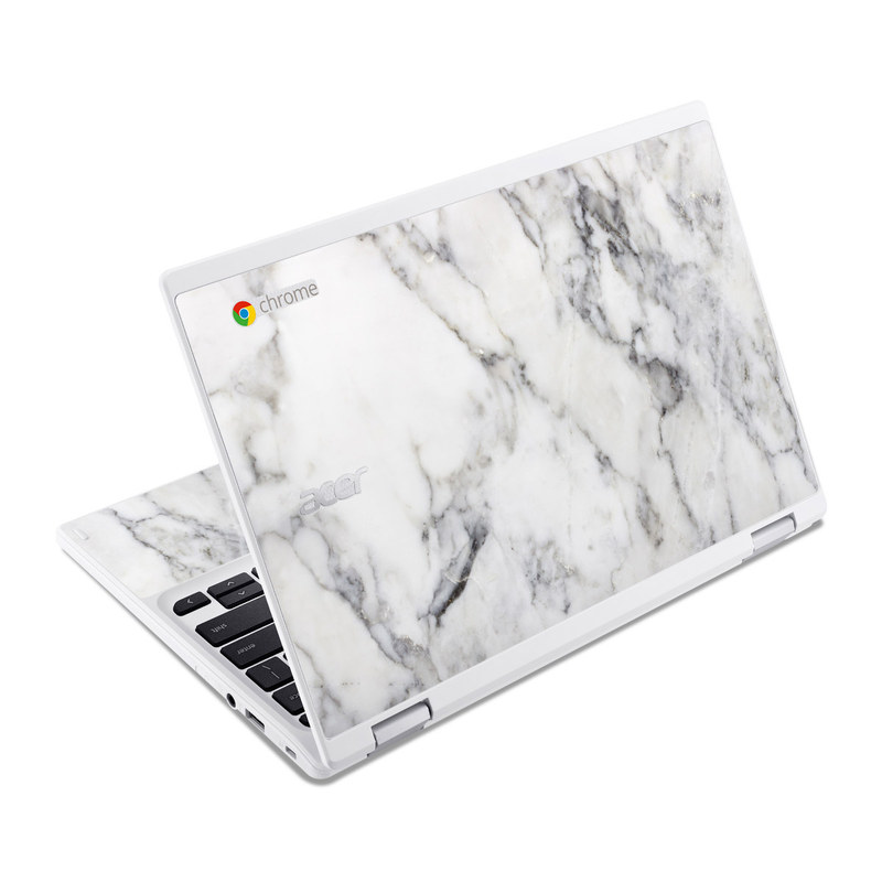 acer chromebook r11 skin white marble by marble collection decalgirl