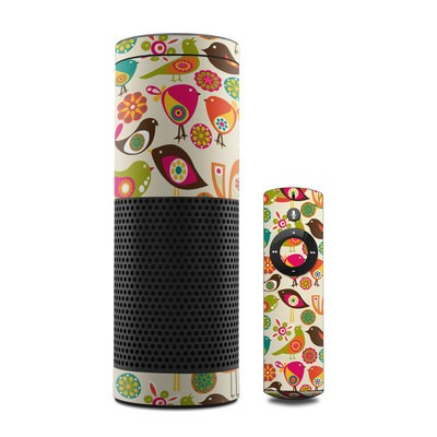 Amazon Echo Skin - Bird Flowers