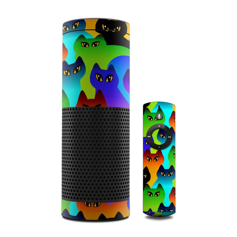 Skin Decal Vinyl Wrap for Amazon Echo Device Rainbow bubbles