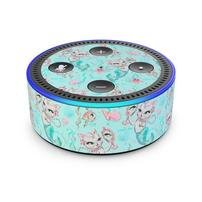Amazon Echo Dot 2nd Gen Skin - Merkittens with Pearls Aqua