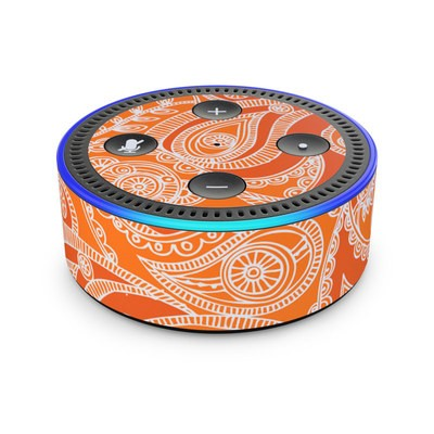Amazon Echo Dot 2nd Gen Skin - Paisley In Orange