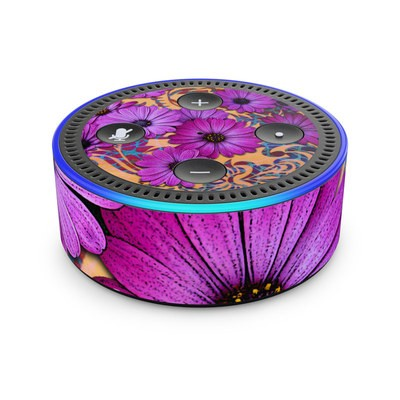 Amazon Echo Dot 2nd Gen Skin - Purple Daisy Damask
