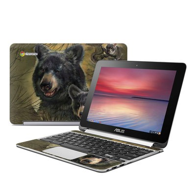 Asus Flip Chromebook Skin - Black Bears