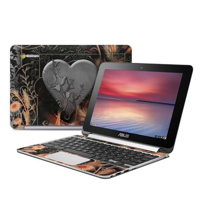 Asus Flip Chromebook Skin - Black Lace Flower