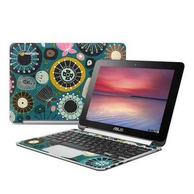 Asus Flip Chromebook Skin - Blooms Teal