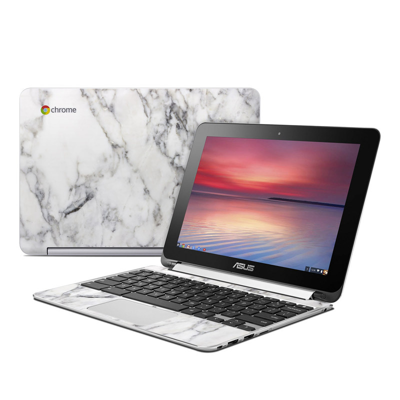 Asus Flip Chromebook Skin White Marble By Marble