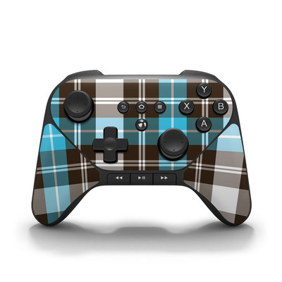 Amazon Fire Game Controller Skin - Turquoise Plaid