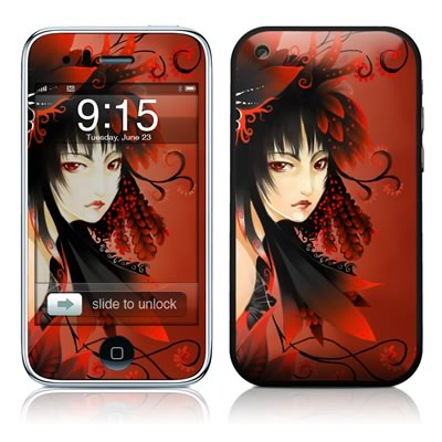iPhone 3G Skin - Black Flower