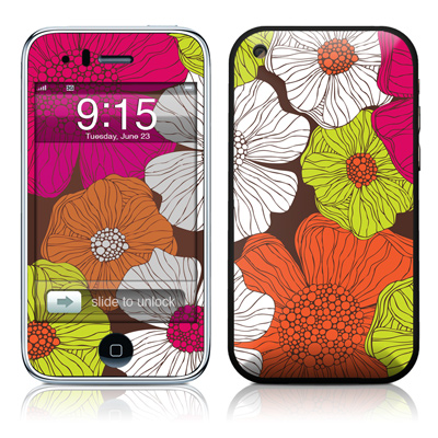 iPhone 3G Skin - Brown Flowers