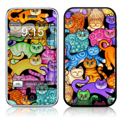 iPhone 3G Skin - Colorful Kittens