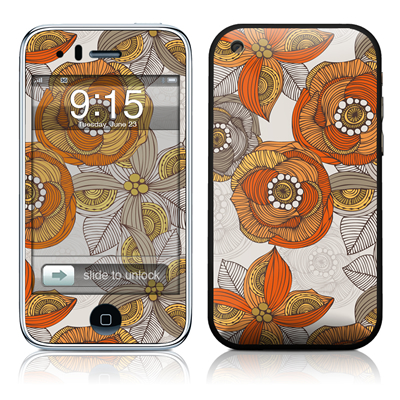 iPhone 3G Skin - Orange and Grey Flowers