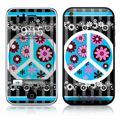 iPhone 3G Skin - Peace Flowers Black