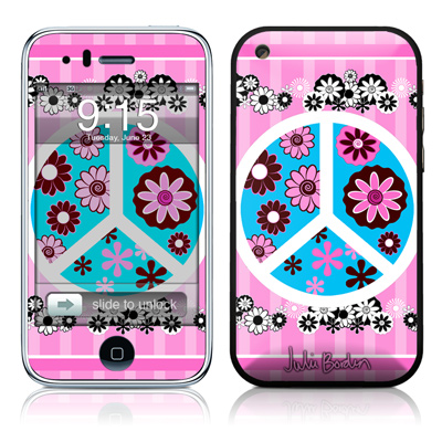 iPhone 3G Skin - Peace Flowers Pink
