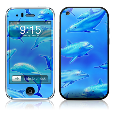 iPhone 3G Skin - Swimming Dolphins