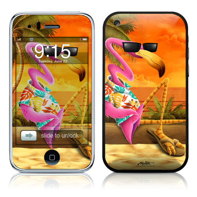 iPhone 3G Skin - Sunset Flamingo