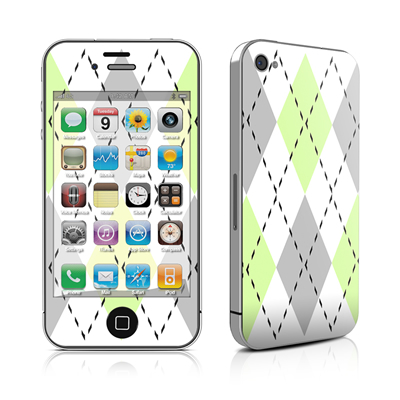 iPhone 4 Skin - Mint Argyle