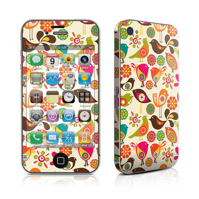 iPhone 4 Skin - Bird Flowers