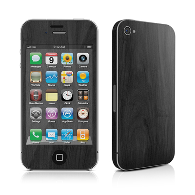 iPhone 4 Skin - Black Woodgrain