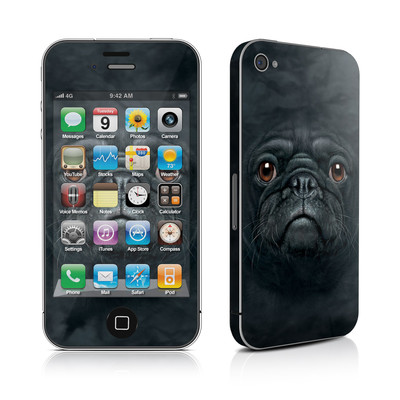 iPhone 4 Skin - Black Pug