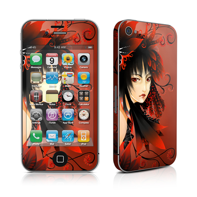 iPhone 4 Skin - Black Flower