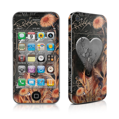 iPhone 4 Skin - Black Lace Flower