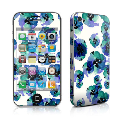 iPhone 4 Skin - Blue Eye Flowers