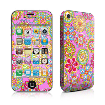 iPhone 4 Skin - Bright Flowers