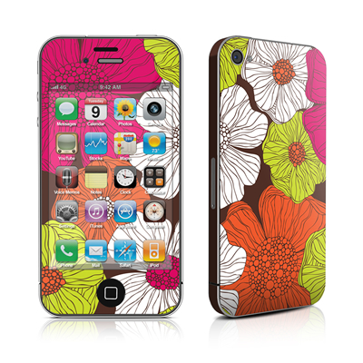 iPhone 4 Skin - Brown Flowers