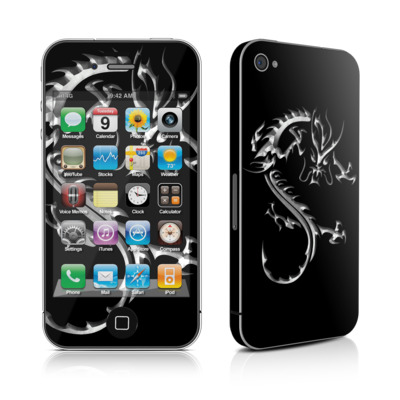 iPhone 4 Skin - Chrome Dragon
