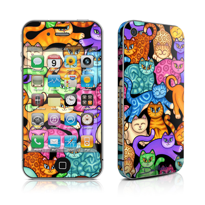 iPhone 4 Skin - Colorful Kittens