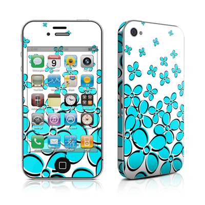 iPhone 4 Skin - Daisy Field - Teal