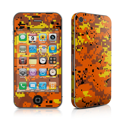 iPhone 4 Skin - Digital Orange Camo